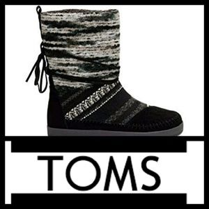 TOMS Nepal Boots in Black Suede Textile